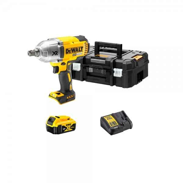 Kit de Llave de Impacto sin escobillas XR 18V + Batería 5,0Ah + Cargador + maletín TSTAK Dewalt DCF899PK