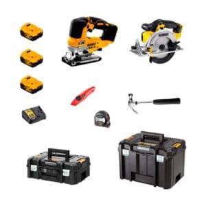 CHFLOOR-kit-sierra-circular-DCS391+sierra-calar-DCS334+3-baterias-5AH-DCB184+Cargador-DCB115+cinta-metrica-facom-897319+martillo-facom-204+cutter-facom844d+maletin-tstak-ii+cajon-tstak-vi